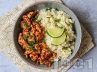 Рецепта Мариновани пилешки гърди с канела и гарнитура от ориз от карфиол с кокосово мляко